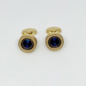 Butoni aurii rotunzi albastru inchis