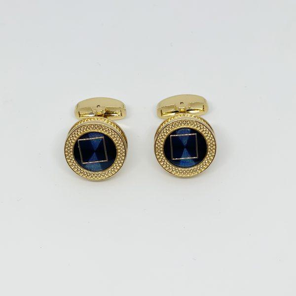 Butoni aurii rotunzi cu nuante de albastru