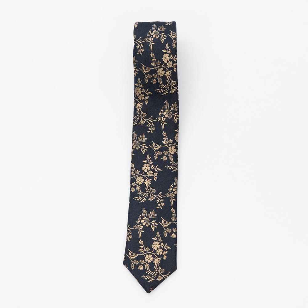Cravata bleumarin inchis cu model floral