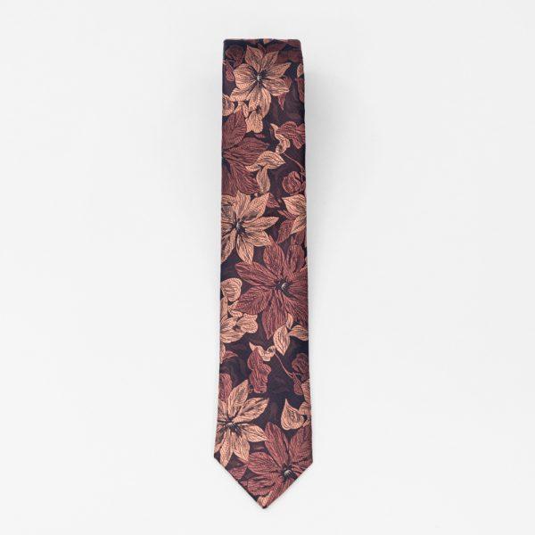 Cravata bordo cu flori