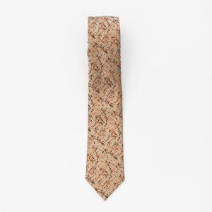Cravata crem cu imprimeu