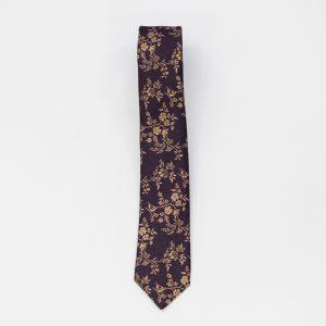 Cravata mov inchis cu model floral galben