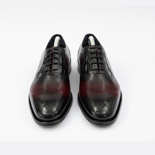 Pantofi bordo din piele 4Men Ceremony
